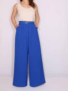 High waist Wide leg pants formal Cobalt blue pants with