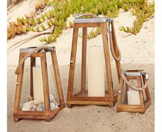 Great outdoor beach-chic lanterns from Pottery Barn: Plymouth Lanterns.