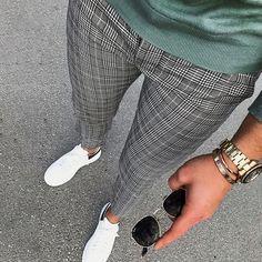 Casual Grey Plaid Striped Slant Pocket Pants – maxgonia Mens Plaid Pants, Plaid Pants Outfit, Casual Pants, Latest Fashion Clothes, Fashion Pants, Mens Fashion, Style Fashion, Karohosen Outfit, Foto Still