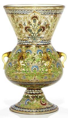 Other Art Glass Tittot Art Glass National Palace Museum Scroll Shaped Oriental Brush Pot Quality First Art Glass