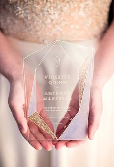 Sugar & Gold | Geode Wedding Inspiration Shoot | Gold Foil & Acrylic Faceted Wedding Invitation | Photo by Gerber Scarpelli Weddings