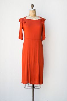 vintage 1930s red rayon dress with shoulder ruffles I LOVE THIS DRESS