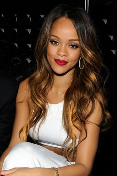 Celebrity Hairstyles | Rihanna #paul #Mitchell #schools #hairstyles #ombre #long #hair #extensions #curls #sexy #pmtswichita