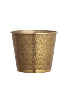 Metal pot: Pot in gold-coloured metal with an embossed pattern. Height 12 cm, diameter at the top 15 cm.