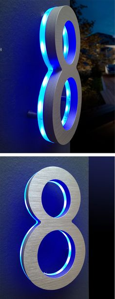 Modern Illuminated House Numbers Blue