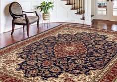 Universal Rugs Traditional Oriental 8 ft. 9 in. x 12 ft. 3 in. Area Rug , Navy Blue