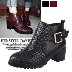 Aliexpress.com : Buy 2013 Fashion vintage personality knitted metal buckle leather thick heel boots from Reliable shoes baby suppliers on  NO.119 Woman Store. $28.90