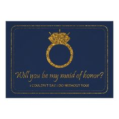 Navy & Gold Glitter Will You Be My Maid Of Honor? Card