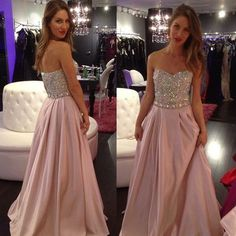 New Hot Pale Pink Prom Dresses With Sparkly ,Beaded Long Prom Dress,Cheap Prom Dress