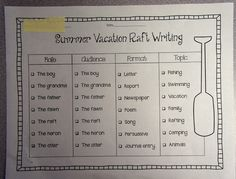 open rafts writing activity