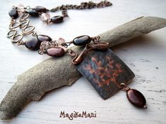 "Necklace ""Arbor"" - copper - red eyes of tiger, pink cristal"