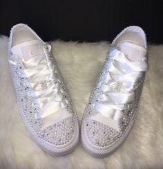 f2c68a657664e8 All Star Mono Converse With Pearls Diamonds   White Ribbon Laces
