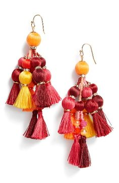 Free shipping and returns on kate spade new york pretty pom tassel drop earrings at Nordstrom.com. Threads of silk, playfully tasseled and studded with sparkling charms, create elegant drop earrings that frame the face in vibrant color.