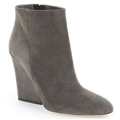 Pre-Owned Jimmy Choo Myth Bootie Gray Suede Boots Sz 38  $975 Wedge... ($770) ❤ liked on Polyvore featuring shoes, boots, ankle booties, grey booties, grey suede booties, gray ankle boots, suede wedge bootie and gray booties