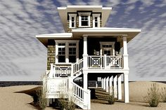 2/2 1600 sq feet. Beach house.  Love how it is perfect for a narrow beach lot and looks like a small light house!  So beautiful.  House Plan 64-238