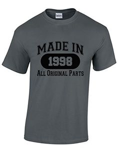Made in 1998 All Original Parts 18th Birthday Gift Present Men's Tshirt (X-Large, Grey)