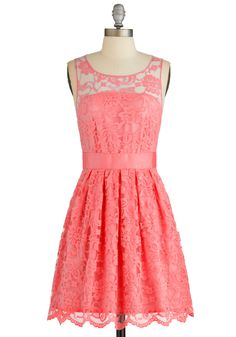 When the Night Comes Dress in Coral. #coral #modcloth Needs a layering top and skirt extender to make it modest!