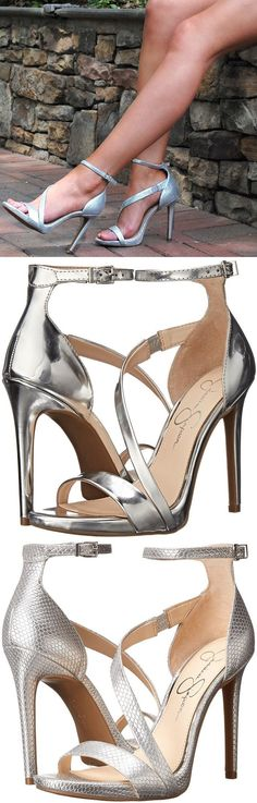 """The alluring """"Rayli"""" ankle-strap sandal features curved lines and a narrow stiletto heel. Are you ready to make a splash with these stunning sandals? #stilettoheelssandals #silveranklestrapsheels"""