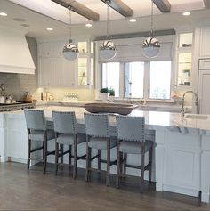 Kitchen with beams.
