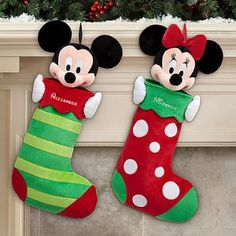 Free Personalization at DisneyStore! Sewn Christmas Ornaments, Christmas Sewing, Felt Ornaments, Christmas Stockings, Christmas Crafts, Christmas Christmas, Mickey Mouse Room, Minnie Mouse Christmas, Mickey Mouse Decorations