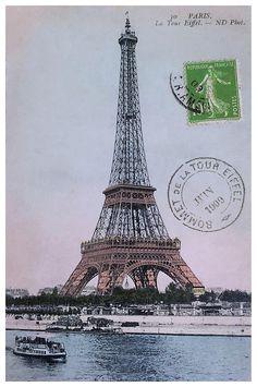 Antique 1909 colorized Paris postcard featuring the iconic Eiffel Tower,vintage postcard,antique postcard,eiffel tower,paris,collectible ephemera,french monument,france,parisienne,Parisian,aviation,colorized,postal,landmark,Notre Dame,champ,Seine