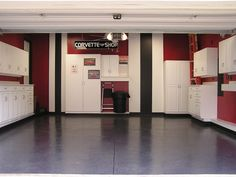 VERY Clean looking garage with a TON of storage! - love the paprika wall color!
