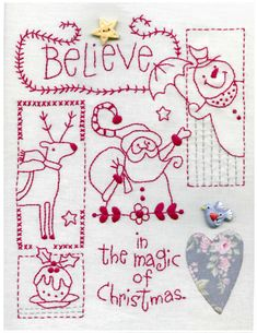 Believe Christmas Sampler FREE embroidery pattern & instructions from Red Brolly Christmas Quilt Patterns, Christmas Embroidery Patterns, Folk Embroidery, Christmas Sewing, Vintage Embroidery, Cross Stitch Embroidery, Machine Embroidery, Embroidery Designs, Primitive Christmas