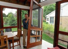 using removable screen doors as screening in porch