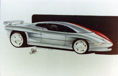 """https://flic.kr/p/fPkq1Y   shado concept sketch 88 realm o dusk   """"Realm of Dusk"""" was a concept design sketch by Steve Harper in February 1988 was for a mid engine Coupe/Supercar using a VOLVO engine"""