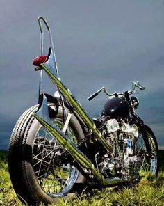 Old school chopper,love the old school look with the sissy bar!