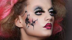 Frauen Gesicht Ideen Halloween schminken Puppe bemalen