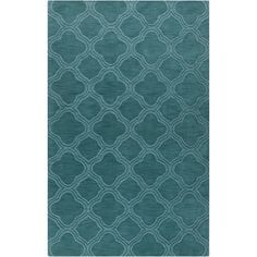 Hand-crafted Teal Green Lattice Grapeland Wool Rug (8' x 11')