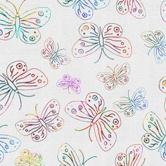 BUTTERFLIES EMBROIDERY ON LINEN Ecru Eggshell fabric by paysmage on Spoonflower - custom fabric