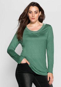 sheego Style Langarmshirt, Mit breitem Paillettenband am Ausschnitt ab 17,99€. Dezente Raffung für einen schönen Fall bei OTTO