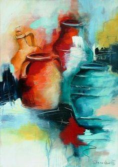 """Michaela Steinacher, """"Amphoren"""" Mit einem Klick auf """"Als Kunstkarte versenden"""" versenden Sie kostenlos dieses Werk Ihren Freunden und Bekannten. Still Life Art, Watercolor Artwork, Painting Inspiration, Painting & Drawing, Art Drawings, Street Art, Abstract Art, Canvas Art, Artec"""