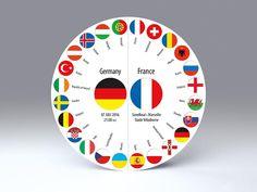 Fußball Einladungskarte zum Spiel Deutschland : Frankreich am 07. Juli 2016 um 21:00 Uhr • freistehende, runde Falt-Karte für Standardkuverts • cc212.07 • #Fußball #GERFRA #rund #Karte #radial #Dekoration #Papier www.centuryo.com