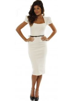 Ivory Belted Icon Pencil Dress