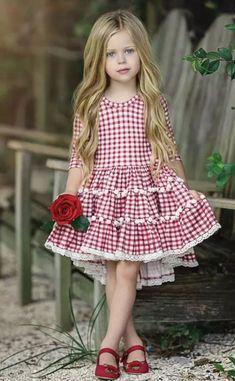 Dollcake Pom Pom Red Dress 6 on Mercari Little Girls Easter Dresses, Cute Dresses For Teens, Cute Girl Dresses, Little Dresses, Kids Outfits Girls, Little Girl Outfits, Cute Outfits For Kids, Kids Dress Wear, Baby Dress Design