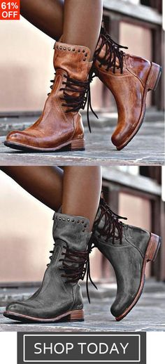 93b25ccb3a73 Back Zipper Vintage Lace-Up Holiday Mid-calf Boots