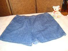 White Stag Sz XL 16/18 Blue Denim 100% Cotton Shorts Elastic Waist #WhiteStag #Denim