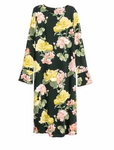 H&M On Trend Crepe Green floral multi-color pattern long sleeve midi dress sz 14   eBay