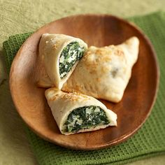 Looking for that triple-whammy of ease, great taste, and good nutrition? You've found it! Reduced-fat cream cheese makes these healthy snacks luscious; the spinach adds nutrients, and refrigerated pizza dough keeps them fuss free.