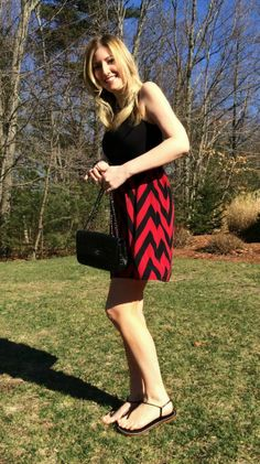 black and red chevron dress outfit