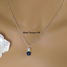 Navy Bridesmaid Jewelry, Royal Blue Pearl Necklace, Pearl and Rhinestone Necklace Flower Girl Jewelry, Blue Wedding, Bridesmaid Gift -BS213 by BridalTreasures4U on Etsy