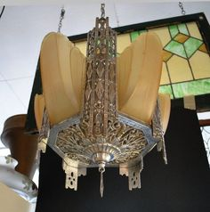 Art Deco Architectural Slip Shade Chandelier Light Fixture with 5 Shades $895