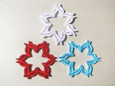 Set of 3 quilled snowflakes / quilling ornaments by OrnamentHouse