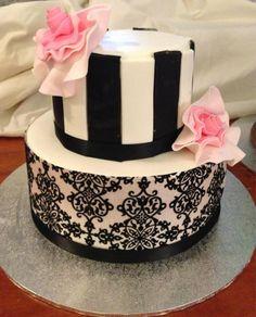 Birthday cake. Pink, black and white.