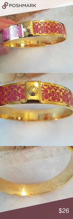 COACH Bangle Bracelet Authentic COACH C Bangle Bracelet. Gently used with minor signs of wear. Pink and Gold tone. For small wrist Coach Jewelry Bracelets