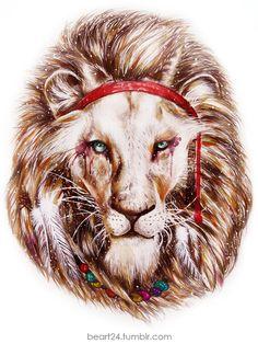 beart24 #art #digital #painting #lion #hippie #hipster #headband