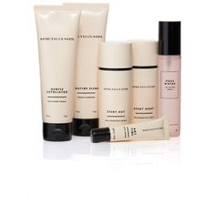 The six products you need for your healthy daily skin care regimen - Routine Clean, Rosewater Uplifting Spray, Every Day and Every Night creams, Any Time Eye Cream, and Gentle Exfoliator.